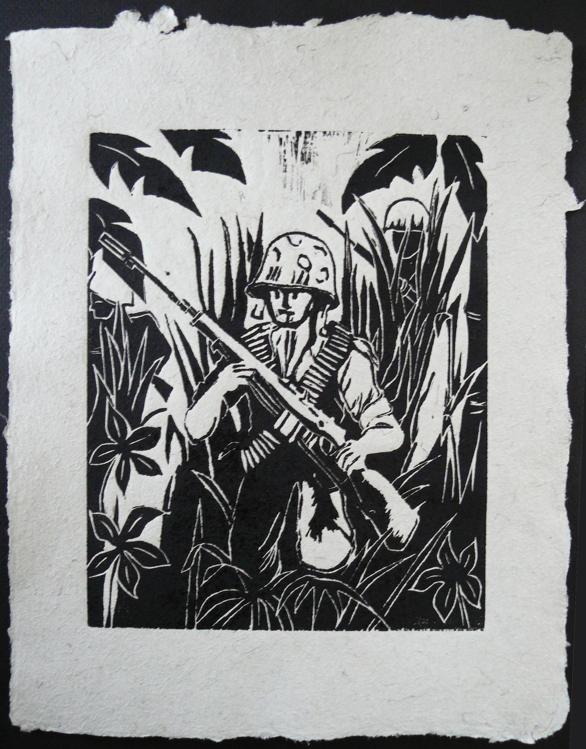 Walt Nygard Marines - Vietnam _Marine in Elephant Grass_ 2012 Lino-cut on Handmade Paper from military uniforms 14 x 11 PCNJ Weekly Workshop .jpg