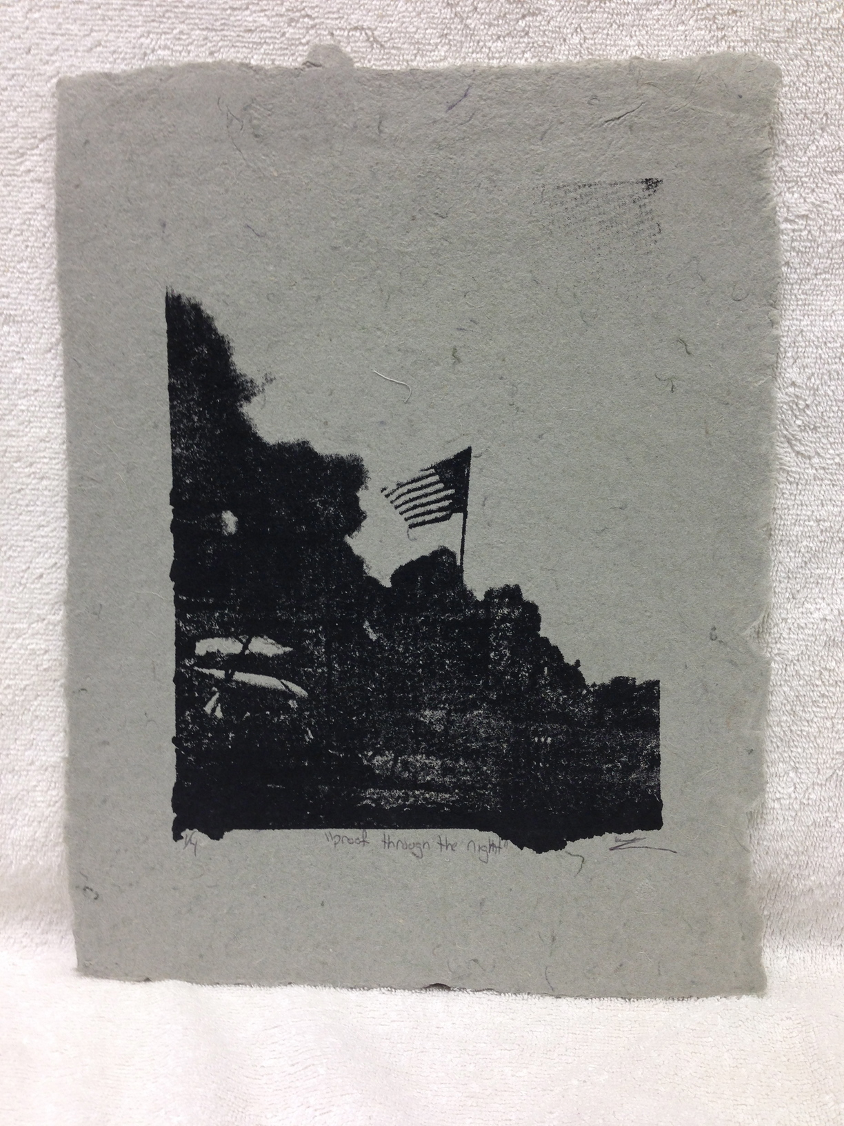 Will Rork Marines - Afghanistan _Through the Night_ 2012 Silkscreen on Handmade Paper from military uniforms 14 x 11 Bergen Community College Workshop IMG_1045.jpg