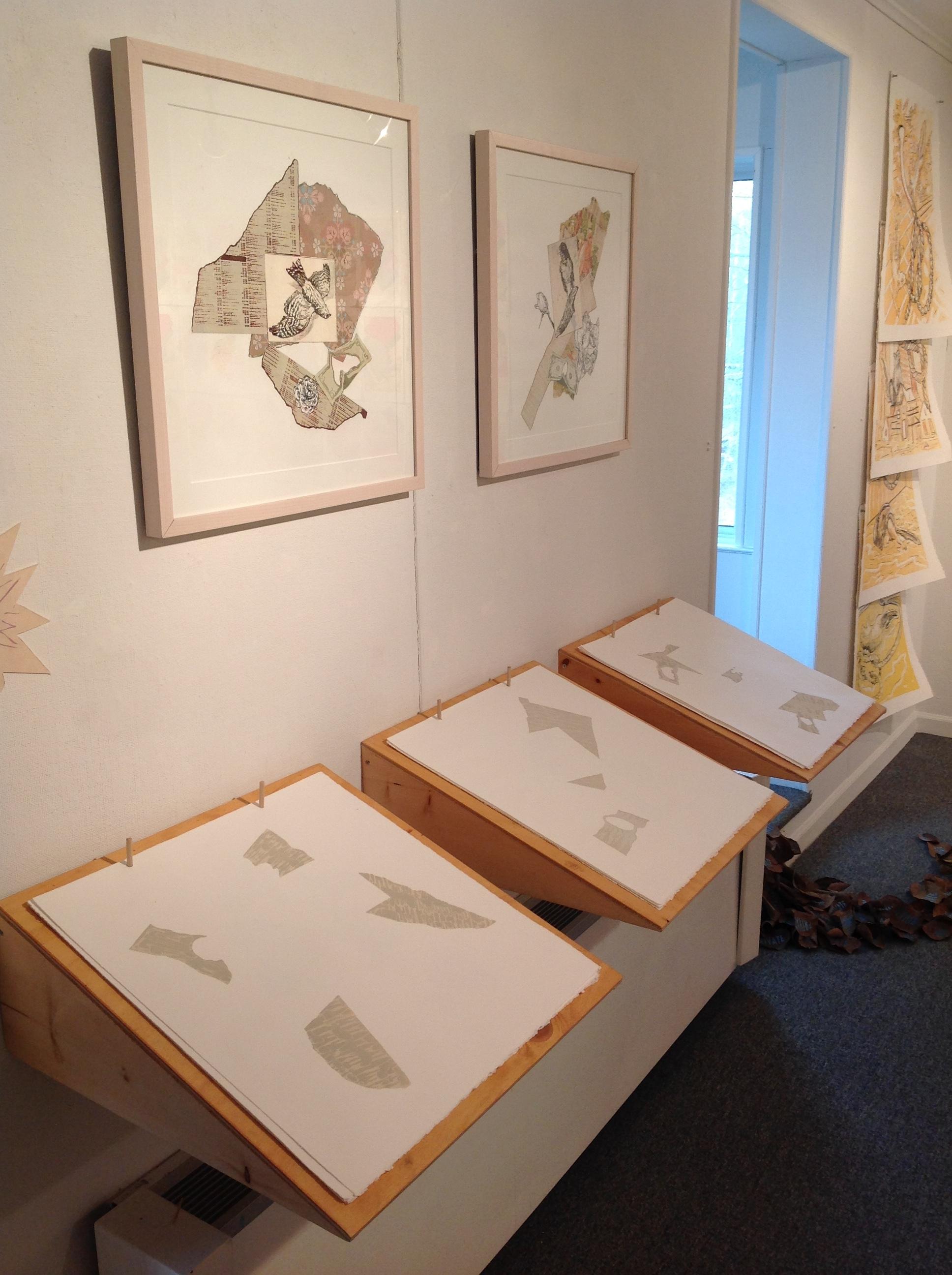 """""""Ephemera Books I, II, III""""  Lithography, chine colle, wood  2018"""
