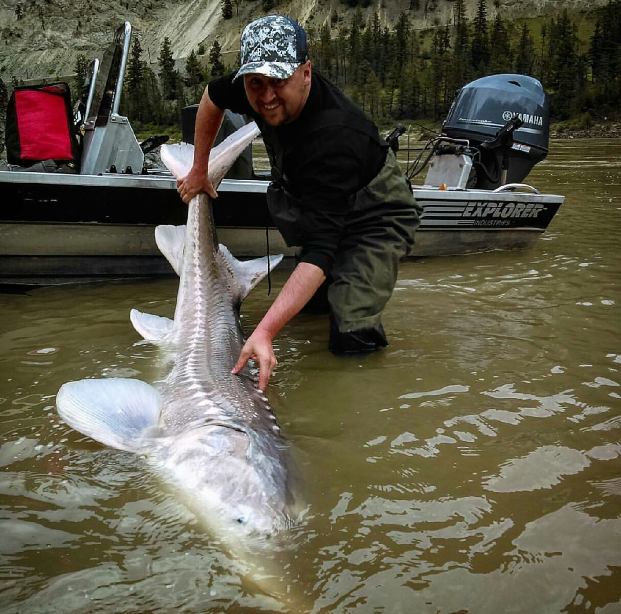 Tyler with a beautiful White Sturgeon.