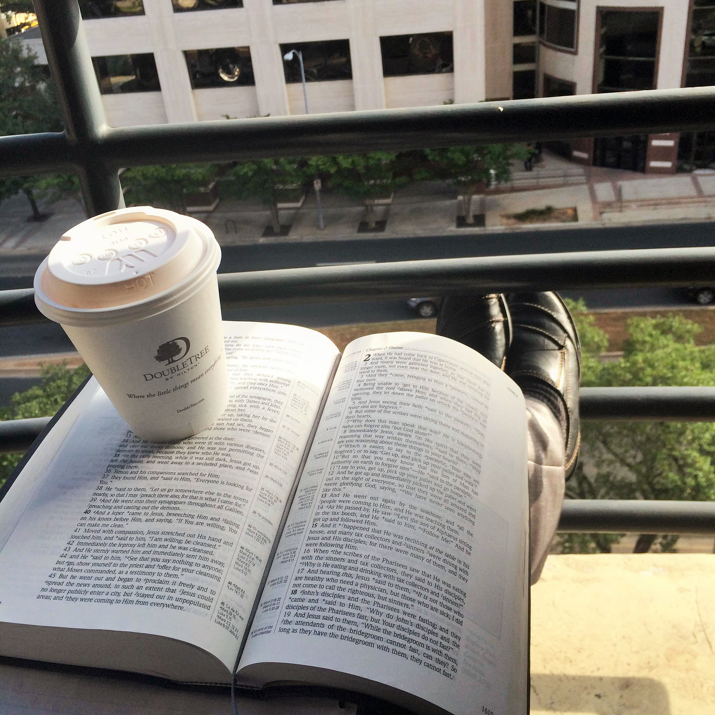 I can have my quiet time wherever I am. And I can have coffee too.