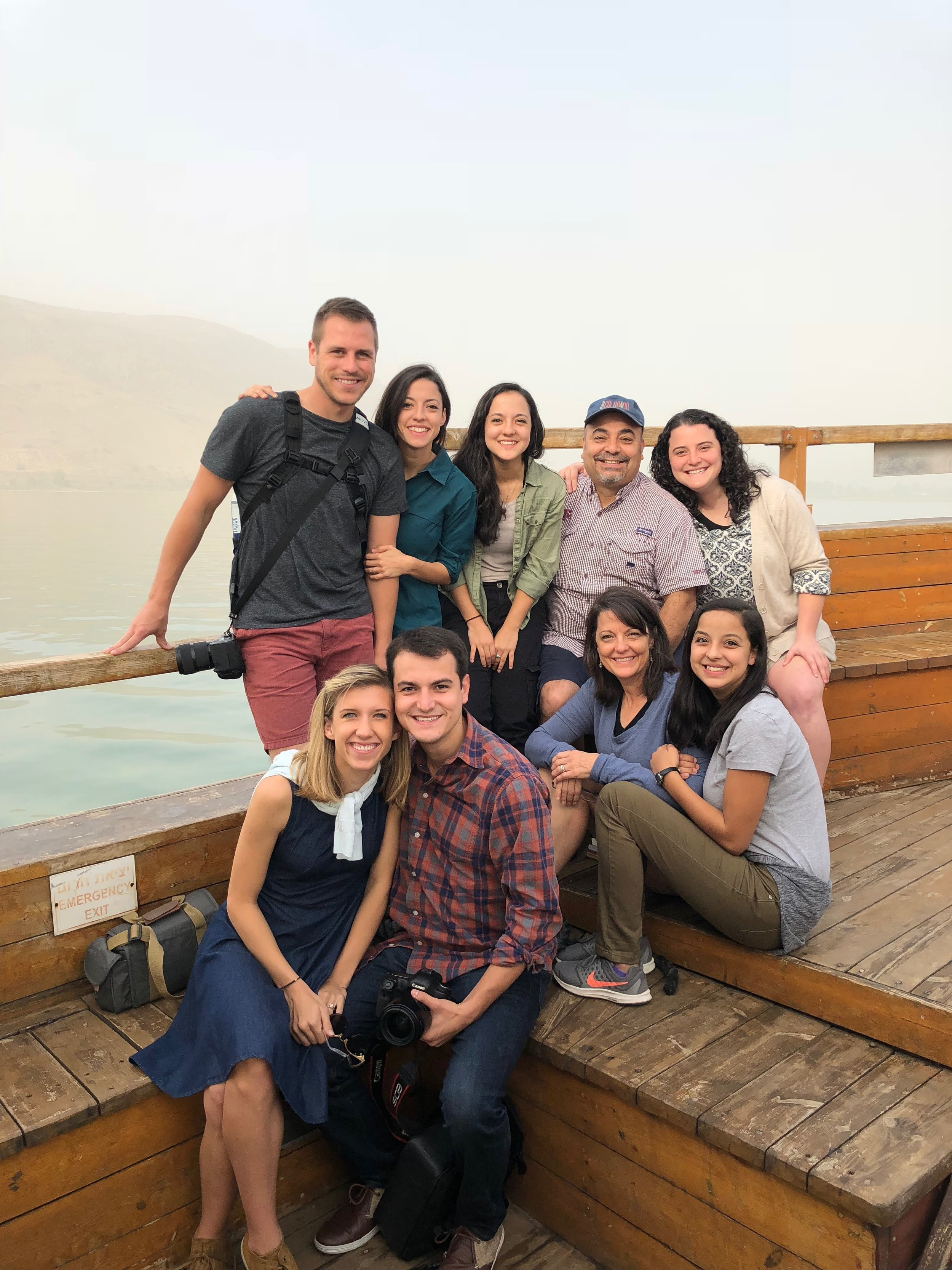 Riding a boat on the Sea of Galilee