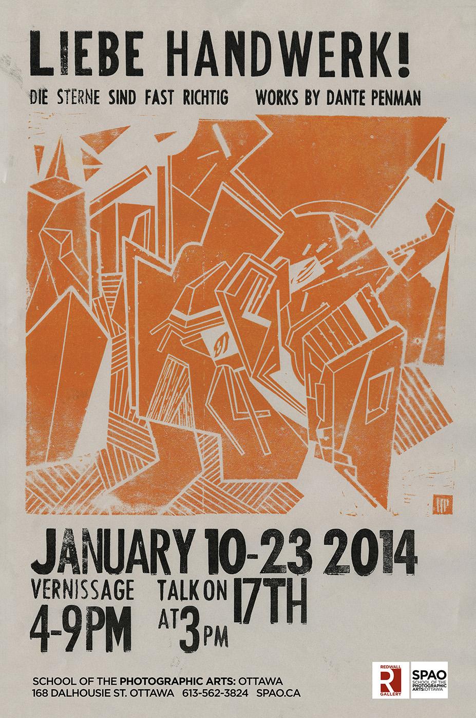 Poster for 'Liebe Handwerk!', Linocut and letterpress on newsprint, 2014