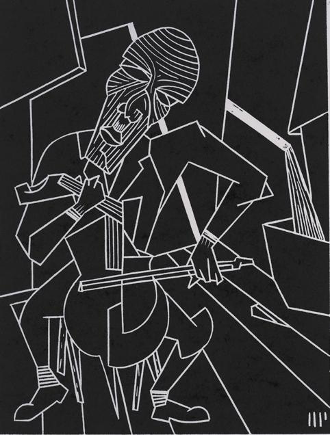 "Erich Zann, 2013, 6x8"" linocut on paper. Edition of 8 + AP"
