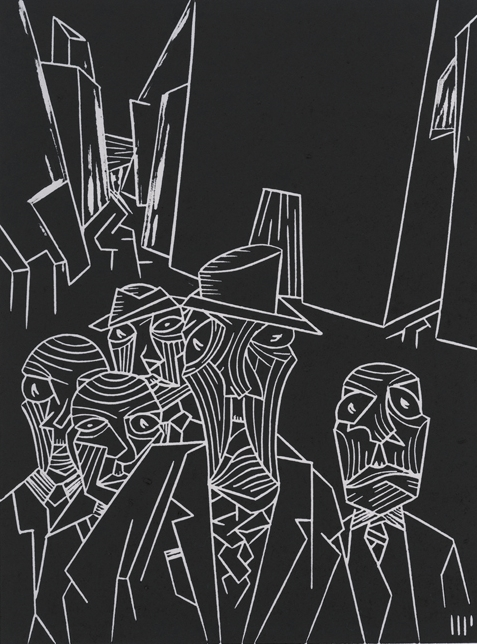 """Barnabas Marsh and the Gilmen, 2013, 6x8"""" linocut on paper. Edition of 8 + AP"""