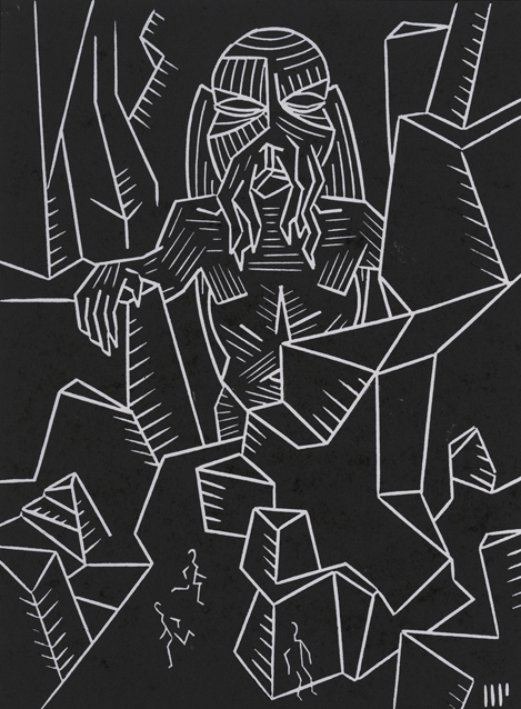 """A Mountain Walked, 2013, 6x8"""" linocut on paper. Edition of 8 + AP"""