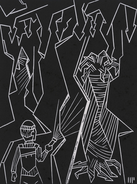 """The Discovery of the Elder Things, 2013, 6x8"""" linocut on paper. Edition of 8 + AP"""
