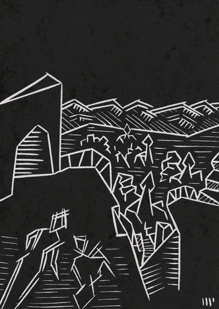 """A High Place of Stair and Terrace, 2013, 5x7"""" linocut on paper. Edition of 8 + AP"""