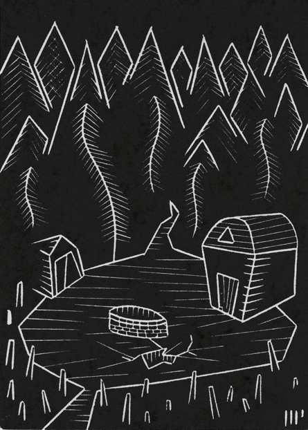 """The Blasted Heath, 2013, 5x7"""" linocut on paper. Edition of 8 + AP"""