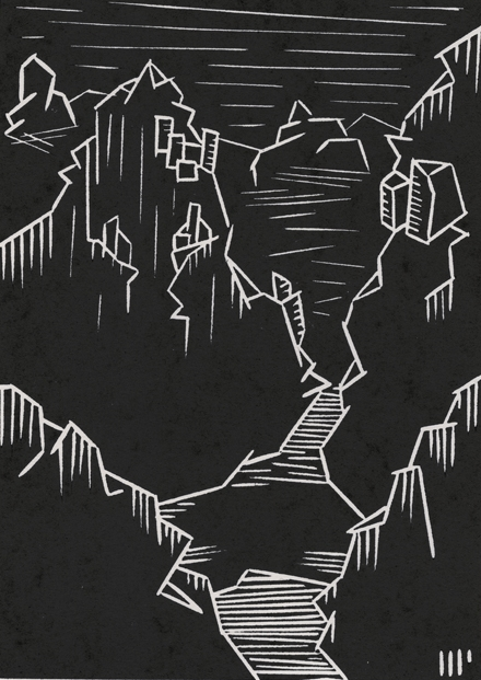 """The Lost Civilization, 2013, 5x7"""" linocut on paper. Edition of 8 + AP"""