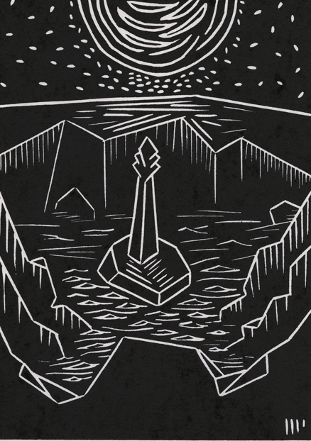 """The Monolith, 2013, 5x7"""" linocut on paper. Edition of 8 + AP"""
