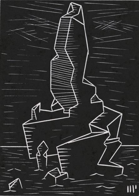"The Peak of R'lyeh, 2013, 5x7"" linocut on paper. Edition of 8 + AP"