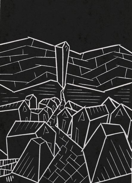 """Rue D'Auseil, 2013, 5x7"""" linocut on paper. Edition of 8 + AP"""
