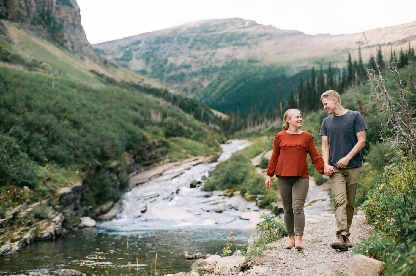 35mm Engagement Photography in Glacier National Park, Jessica Lodien Photography