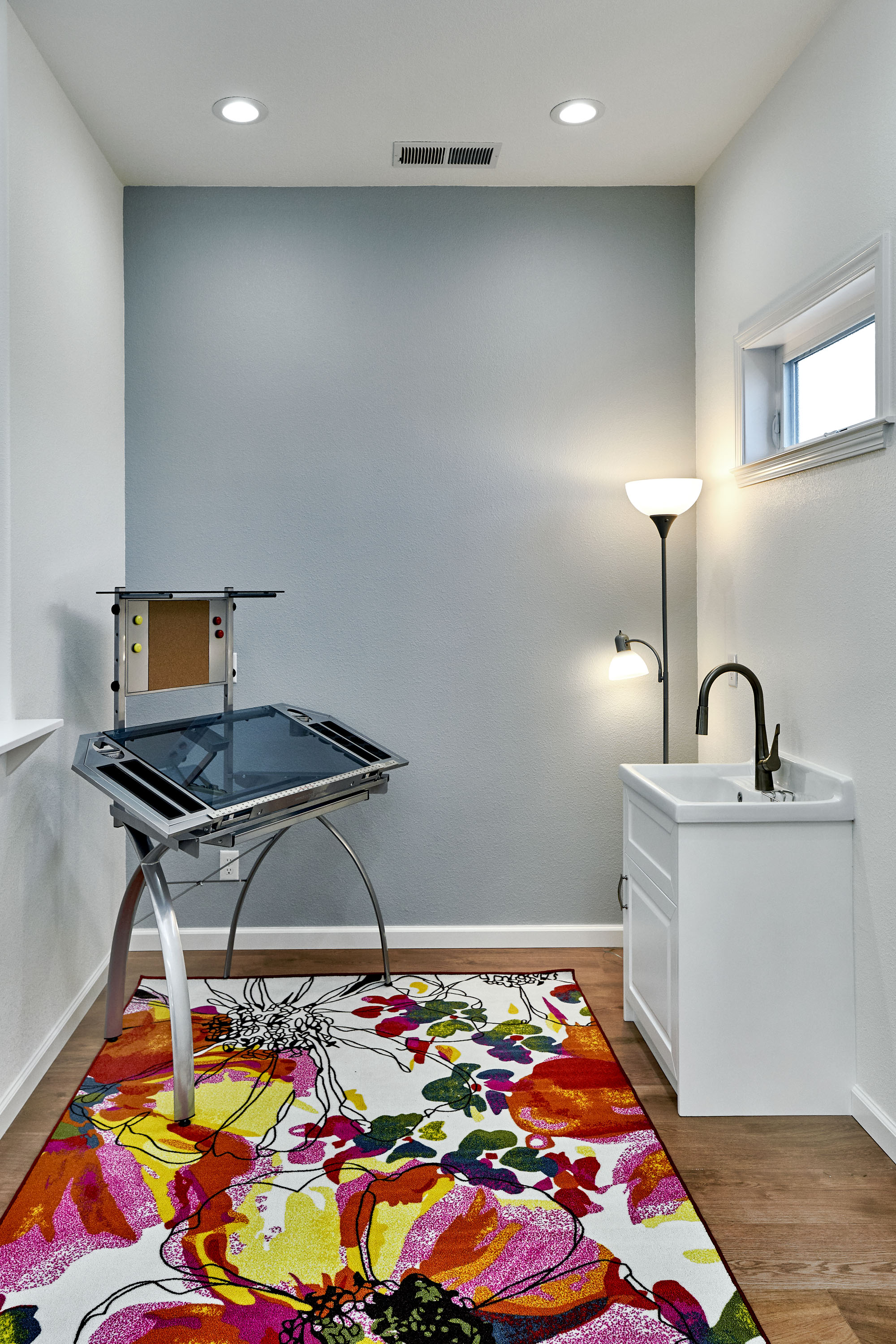 Painters studio with sink to clean brushes and palettes.