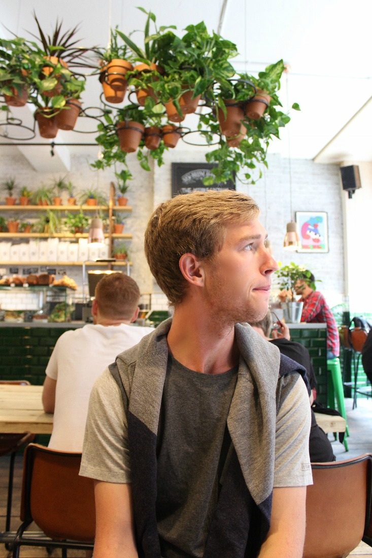 waiting for food with a worried, but still handsome look on his face.
