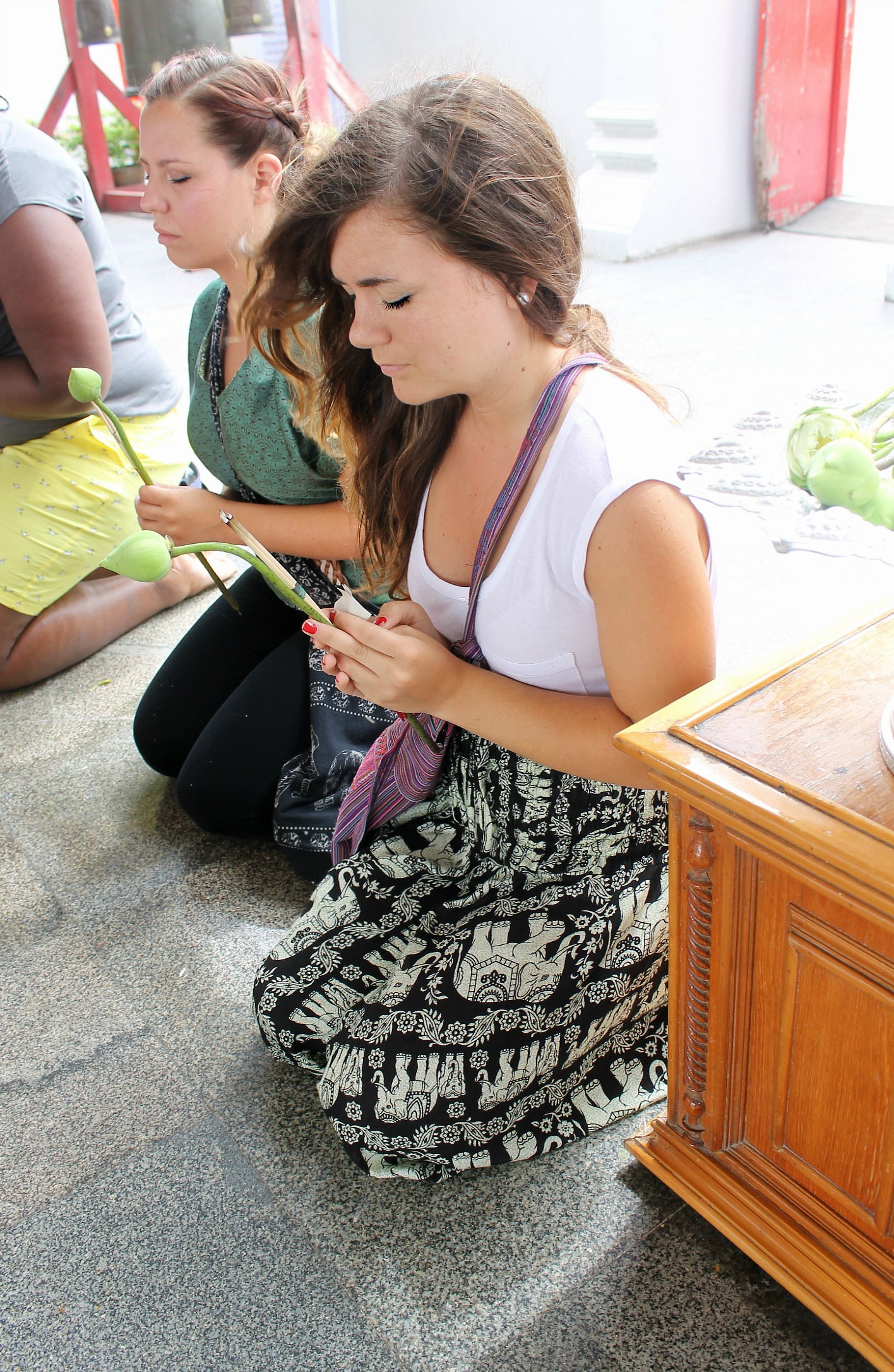 me wearing those nasty elephant pants before I knew they were probably made in a factory in China by children. don't buy them, k? shaking my head at myself. Thailand, 2013