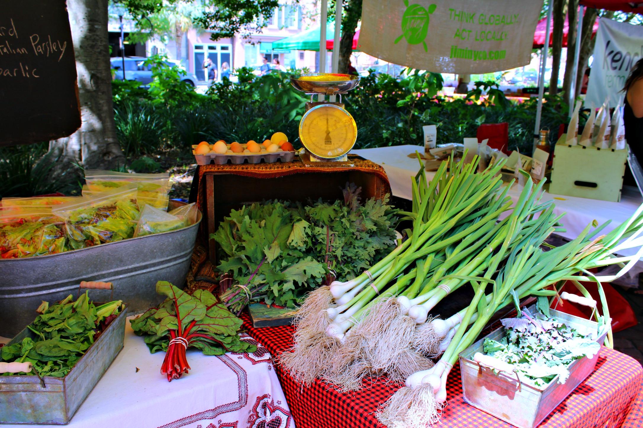fresh produce at the Charleston Saturday Farmer's Market