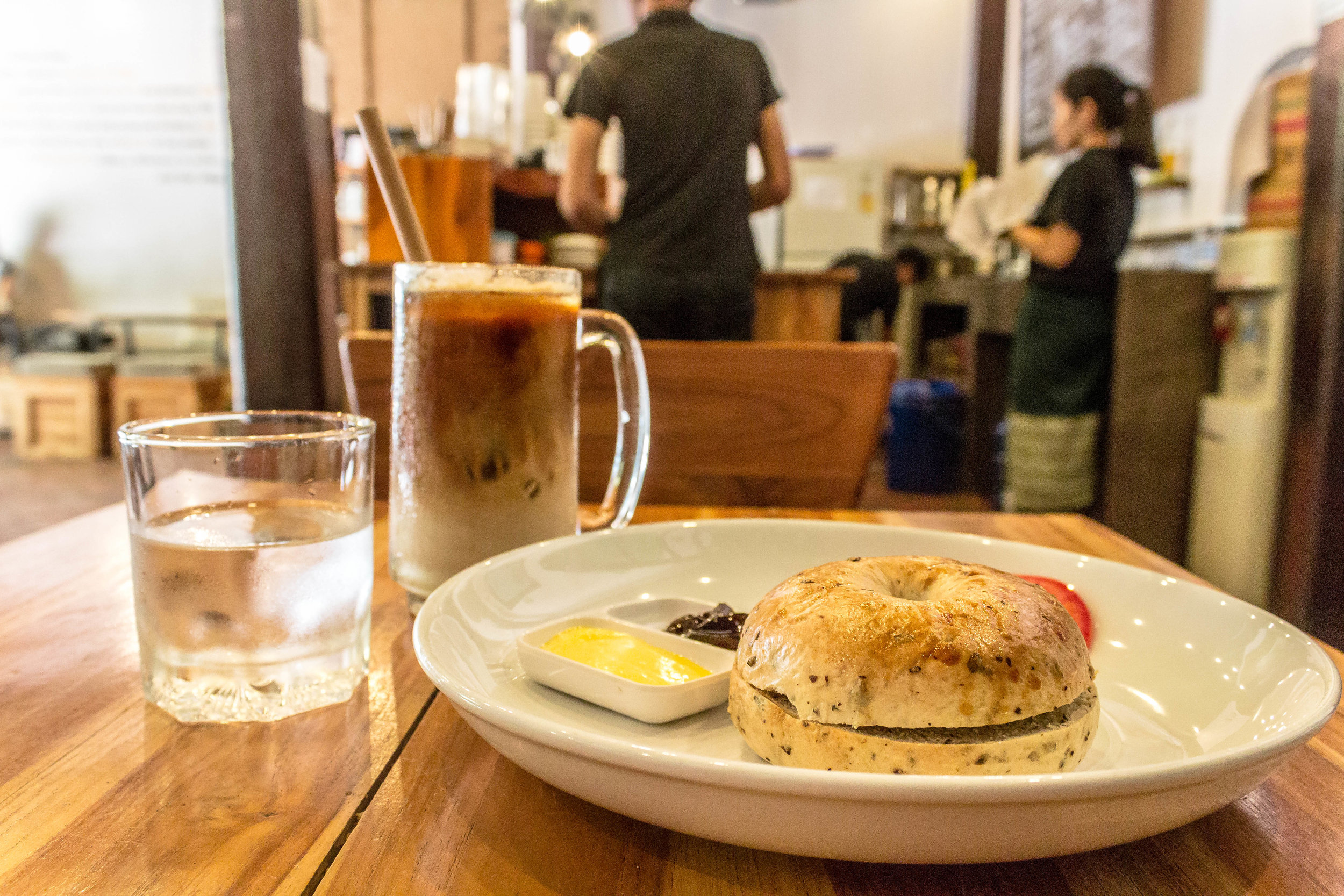 ICED LATTE + CASCARA BAGEL WITH BUTTER + ESPRESSO JAM