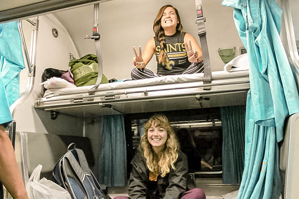 BABY FACES ON THEIR FIRST OVERNIGHT TRAIN TO CHAING MAI. I HAVE A PLETHORA OF PICTURES WITH MYSELF SMILING LIKE THIS…