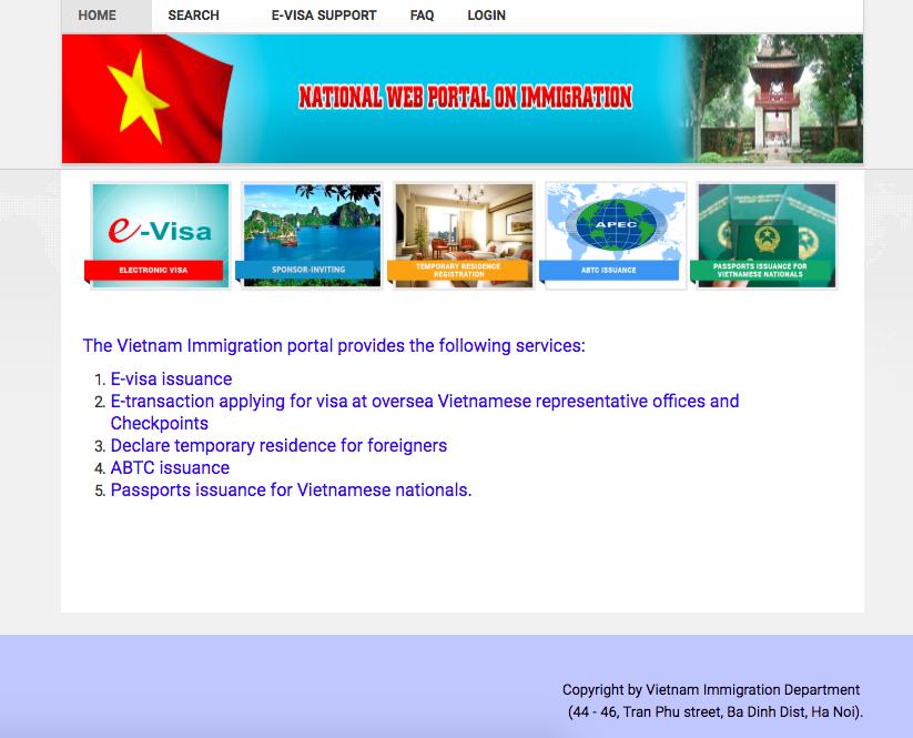 E-VISA SCREEN FOR VIETNAM VISAS