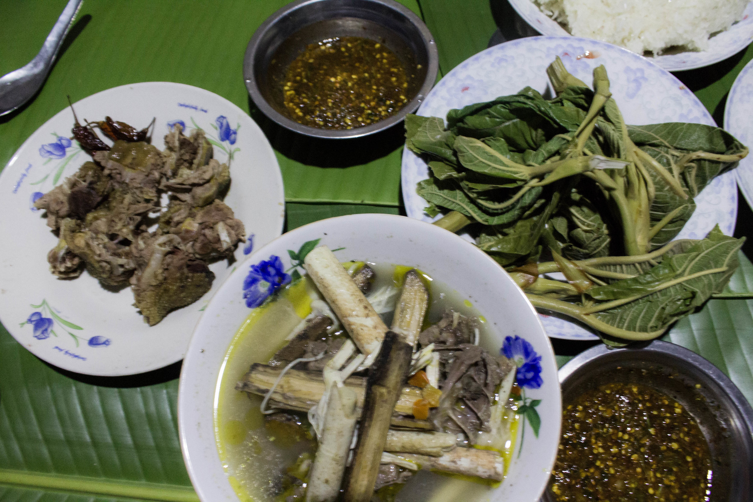 "DUCK, JEOW, LAO ""SPINACH"", RATTAN SOUP, RICE, + SO MUCH MORE"