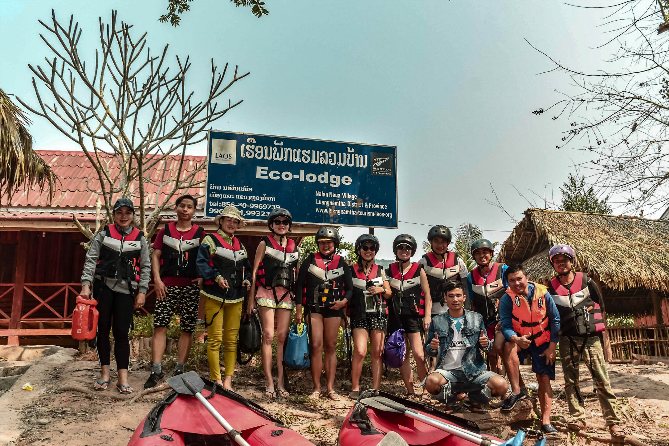 OUR GROUP, AT THE START OF THE KAYAKING JOURNEY