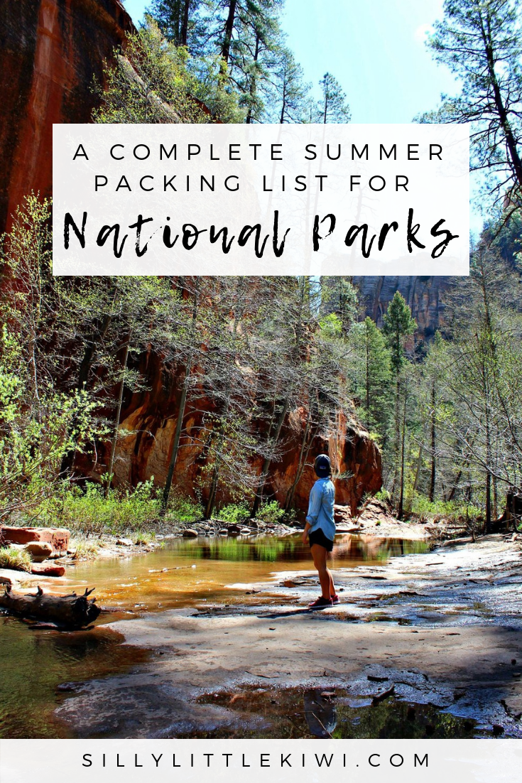 a summer packing list for National Parks + Forests