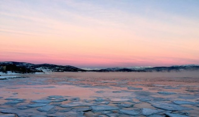 Frozen water during the polar night in Tromsø, Norway. Author provided.
