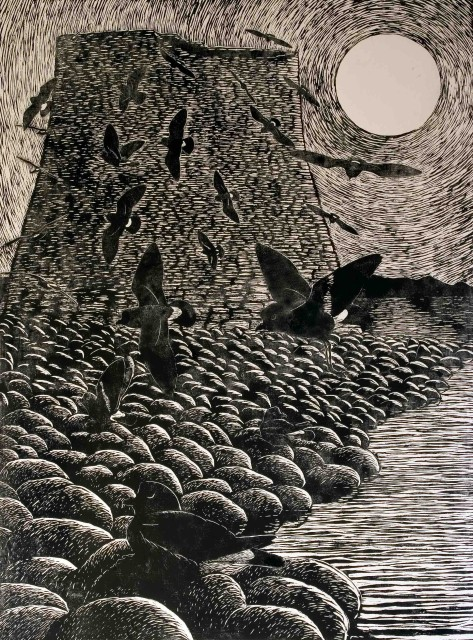 Mousa broch, full moon and the Storm Petrels, appearing and disappearing like wisps of peat smoke. Woodcut print by Howard Towll.