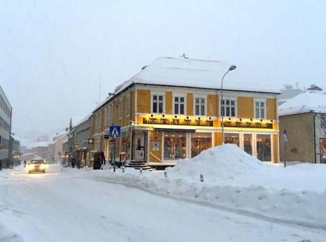 Tromsø's snowy town center. Author provided.