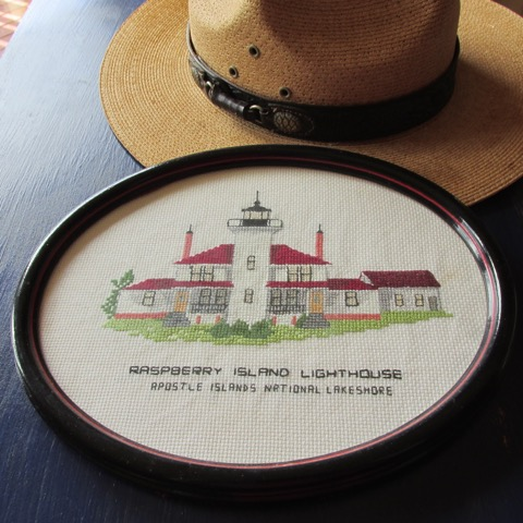 The author's National Ranger hat and cross stitch.