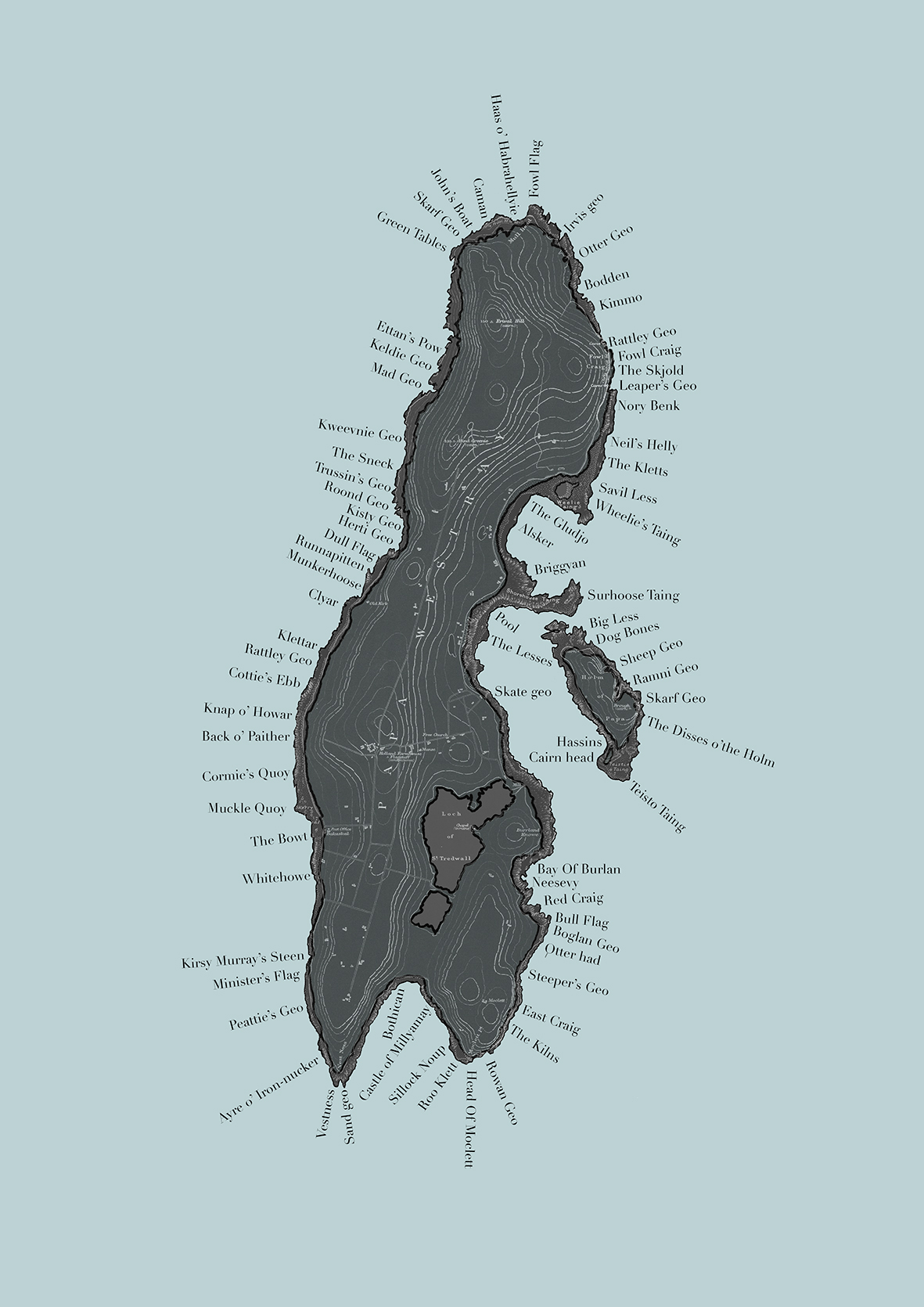 Jonathan Ford's Papay coastline map, after Hugh Marwick.