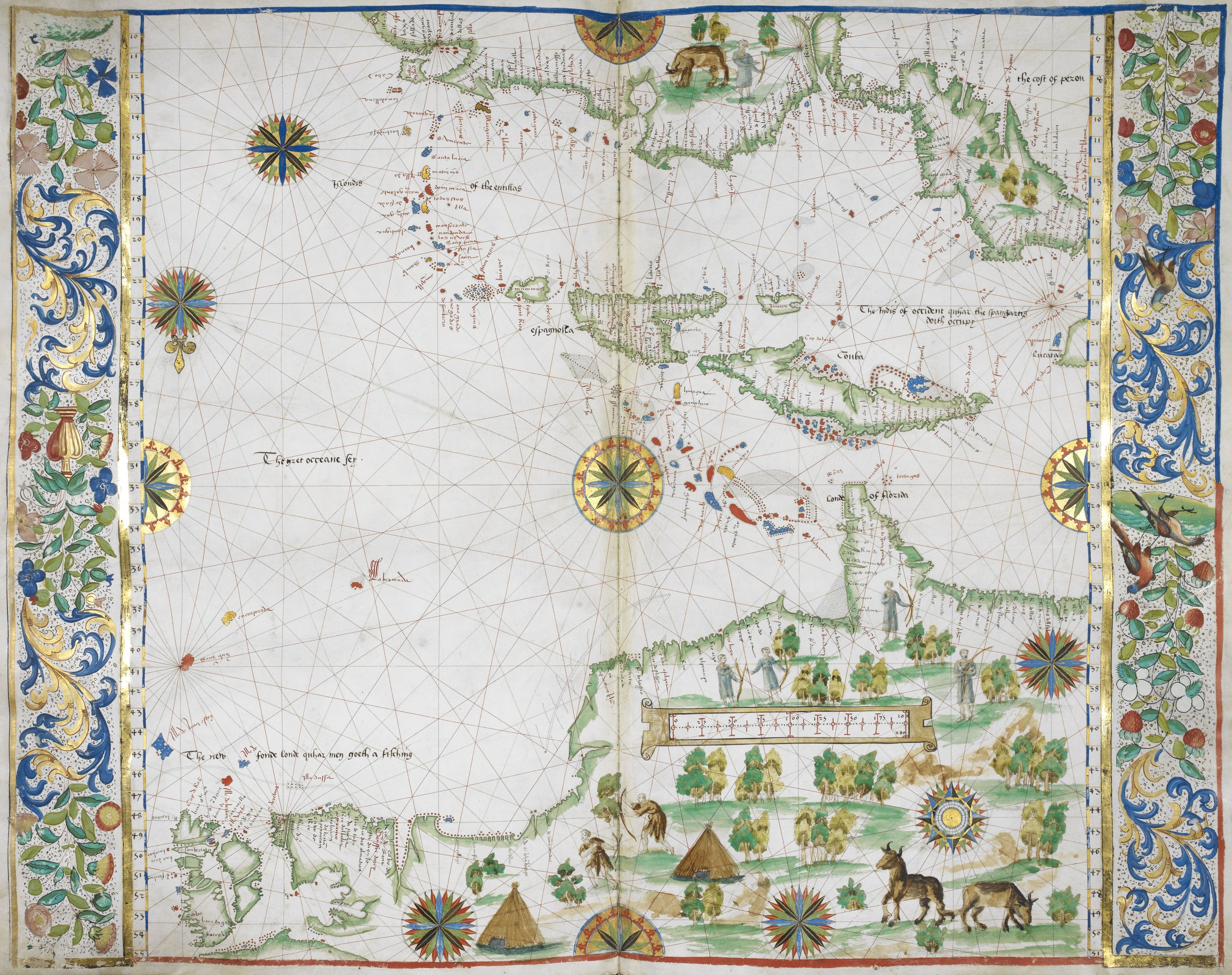 This map of the West Indies from 1542 is regarded as one of the British Library's finest treasures. Made with velum, and hand-painted in golds, blues and greens, it charts what is now the southern United States and the West Indies. Produced not for a mariner, but for an elite audience, the map had one purpose - to help a ruler conceptualise their world, in this case Francis I of France.