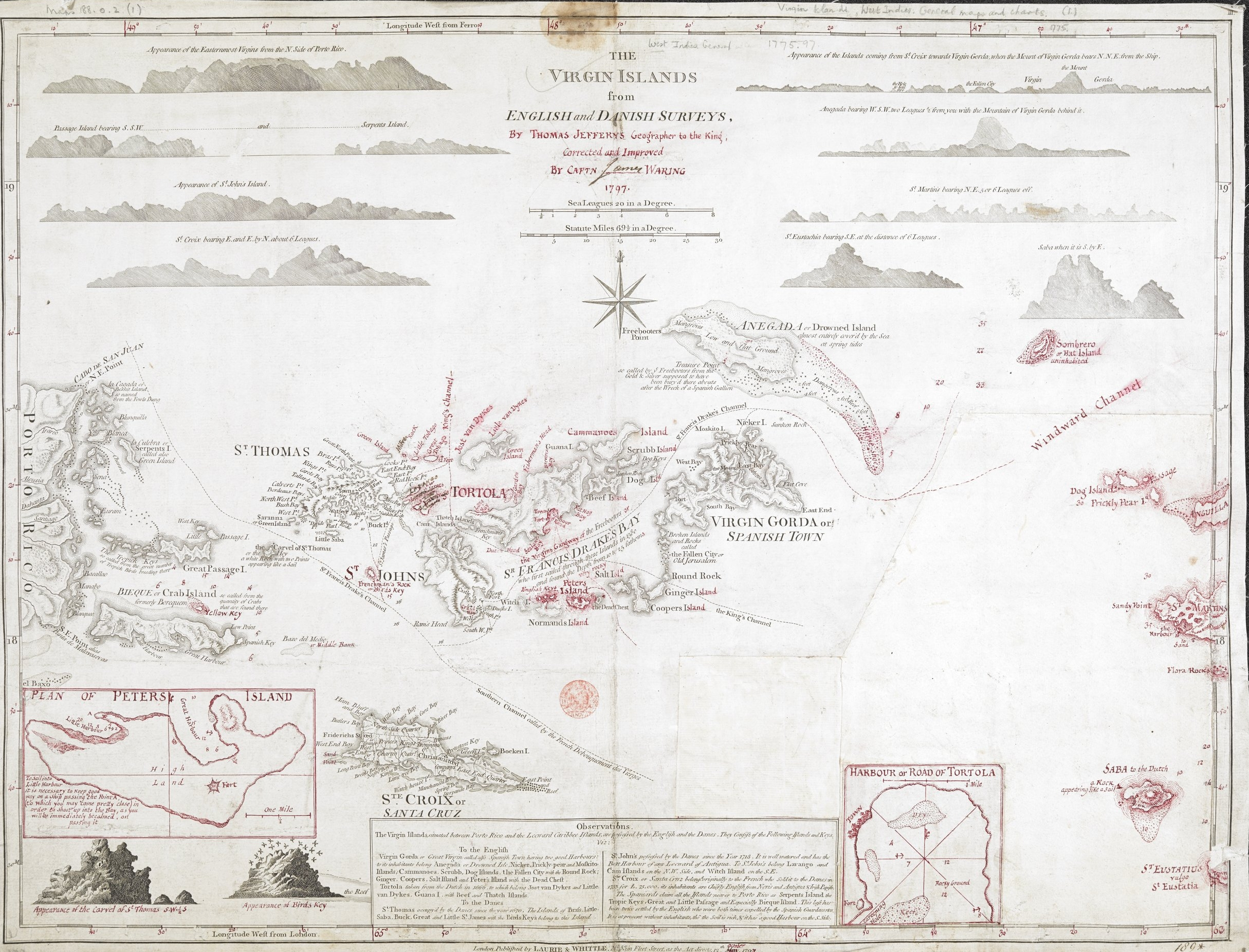 Thomas Jeffreys' (1797) map of the Virgin Islands details a Dutch slave colony west of Puerto Rico. Practical information to aid navigation is interspersed with observations on wildlife, place name origins and historical details.
