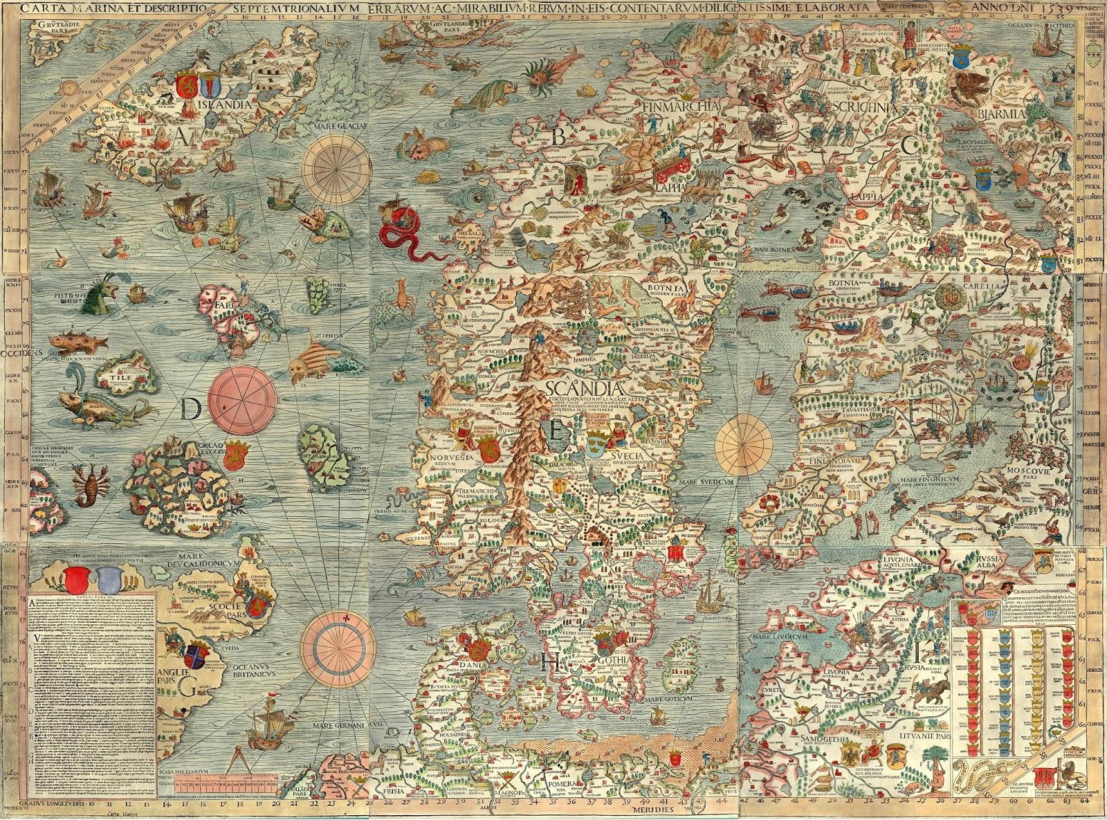 The 1539  Carta marina et descriptio septentrionalium terrarium  by Olaus Magnus