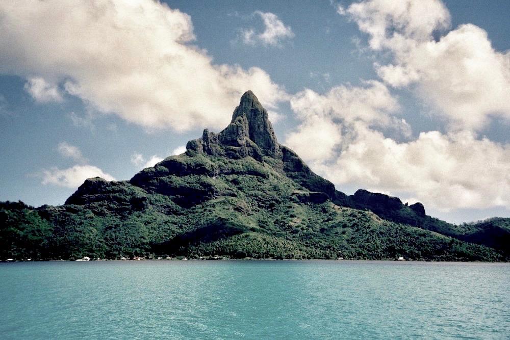 Monster Island (怪獣島  Kaijū-jima ), home of Godzilla and other Japanese movie creatures. In reality, Bora Bora's Mt. Otemanu.