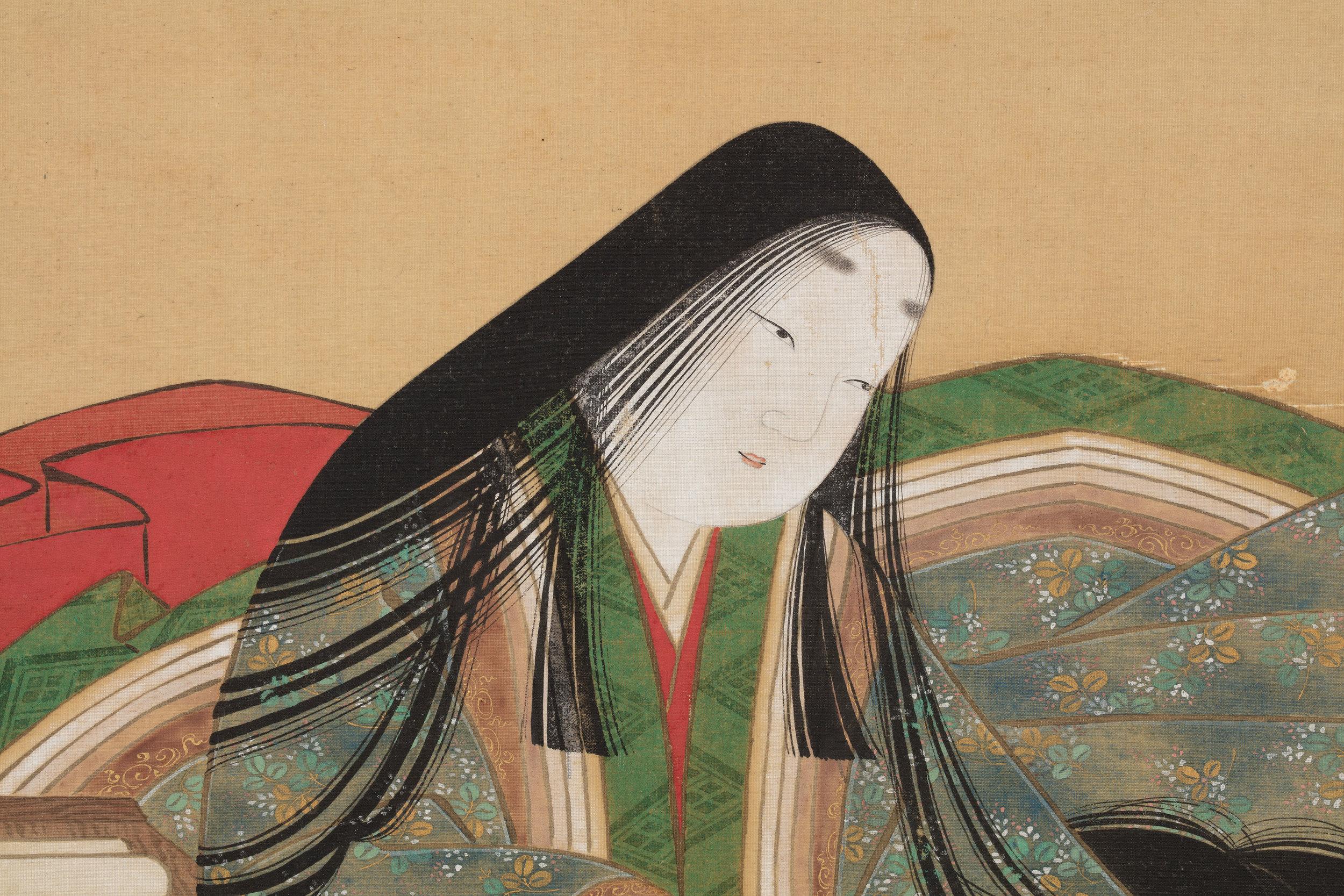 Tosa Mitsuoki, Japanese, 1617–1691 Murasaki Shikibu Composing The Tale of Genji (detail) Japan, Edo period (1615–1868), 17th century Hanging scroll; ink and color on silk