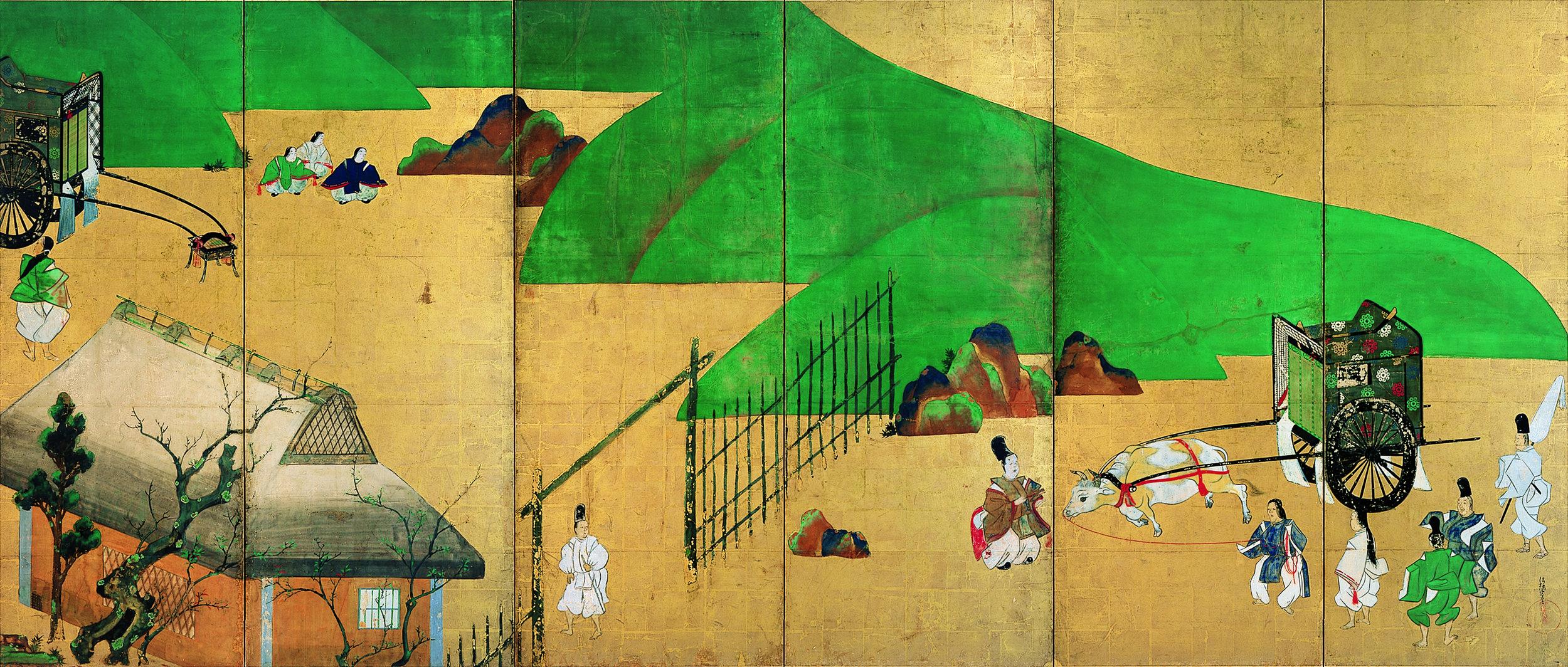 Tawaraya Sōtatsu, Japanese, died ca. 1643? Miotsukushi and Sekiya Japan, Edo period (1615–1868), 1631 Pair of six-panel folding screens