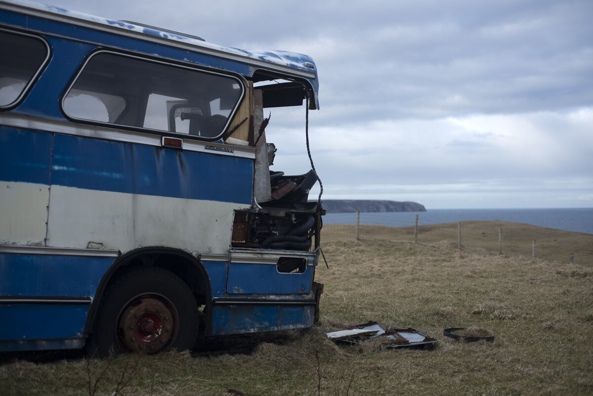 Former bus now in use as a storage shed, North Tolsta, Isle of Lewis. Photo by Alex Boyd