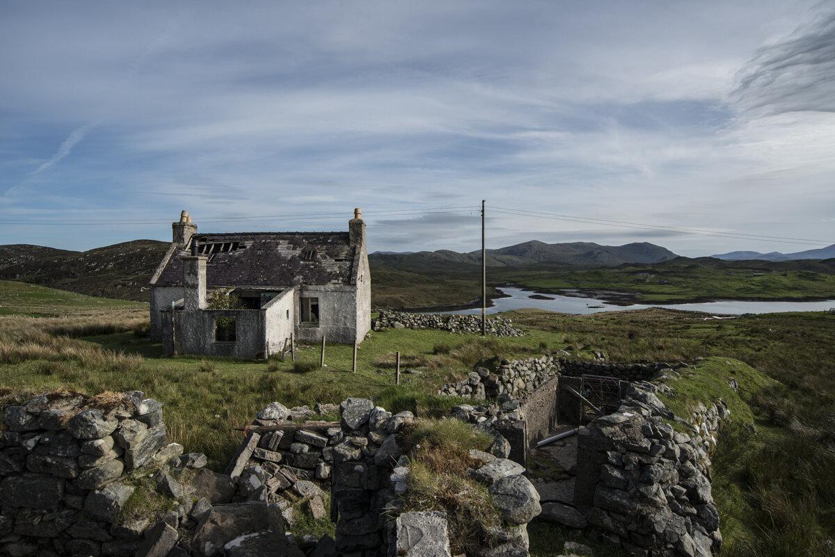 A familiar site on the island - a croft with ruin, Balallan, Isle of Lewis