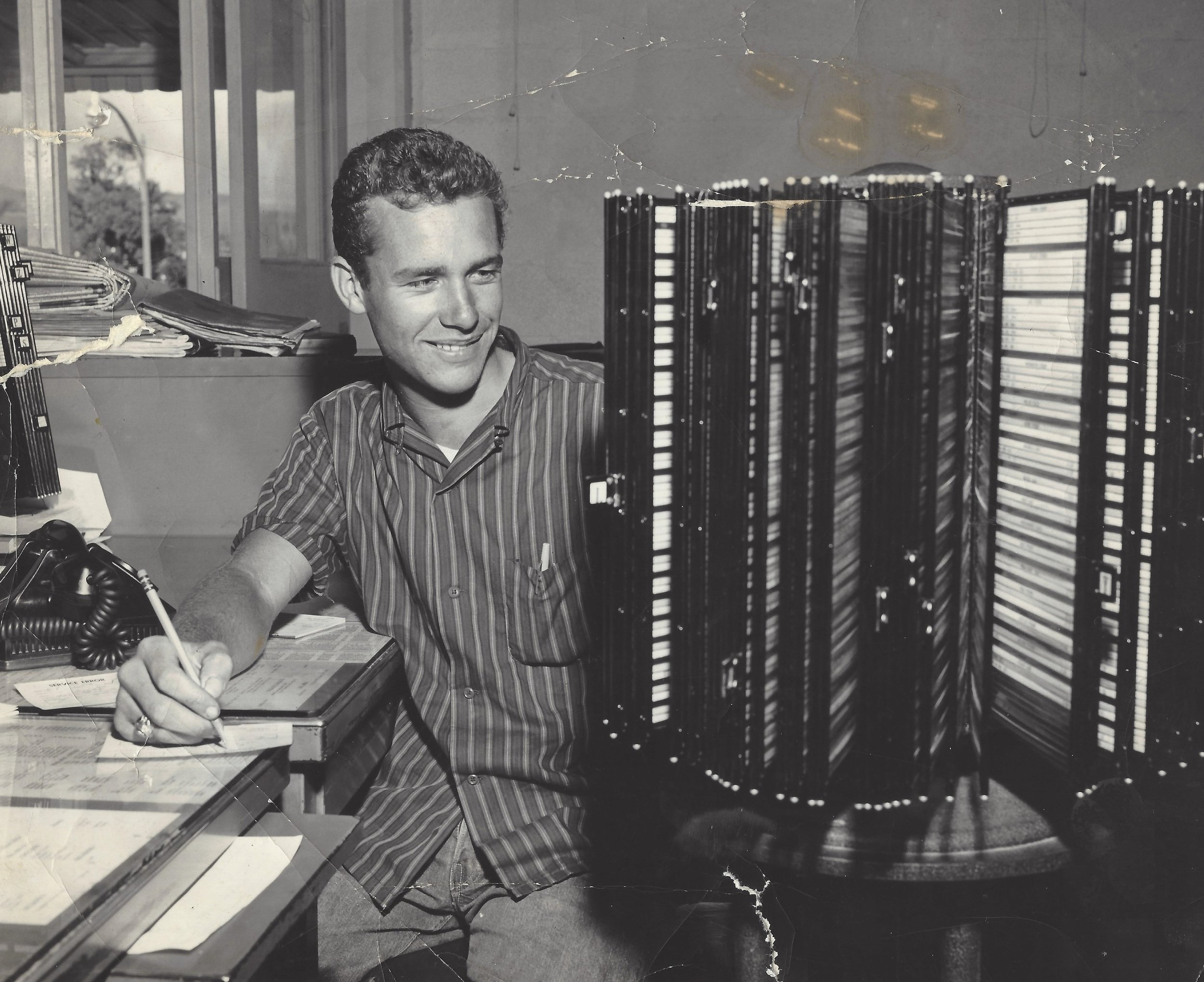 Pastor Frank working at the Honolulu Star-Bulletin while a senior in high school