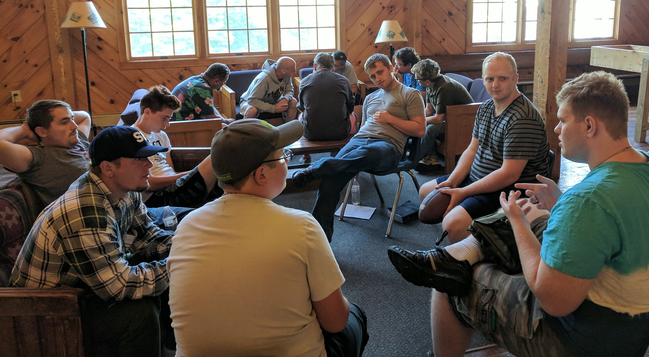 A few of our young men in a breakout session during the men's retreat last weekend.