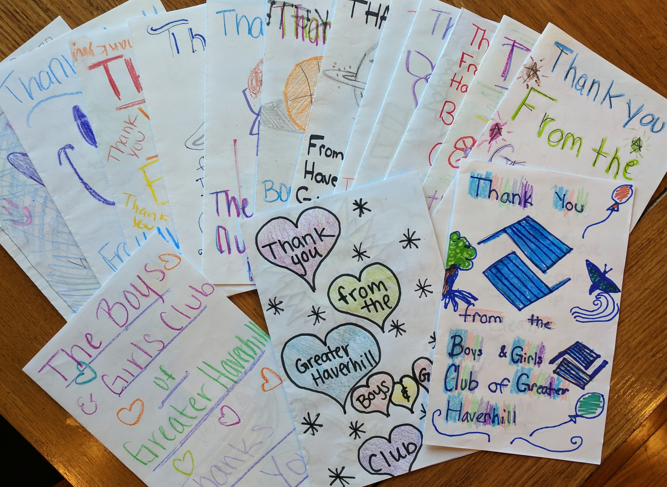 Here are a few thank you notes from the Boys and Girls Club following our For Our Community work at Camp Tasker.