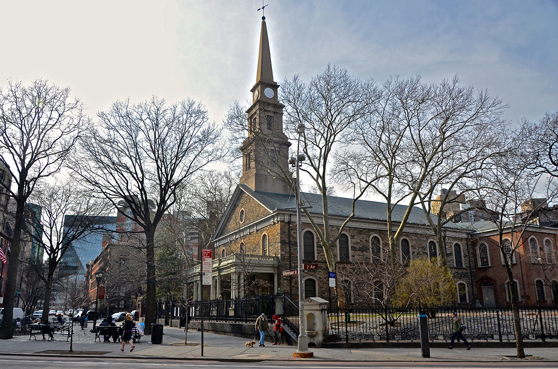 St. Marks In the Bowery @ 2nd Ave and Stuyvesant Place looking west. The second-oldest church in Manhattan, constructed 1799.  The church has been a leading East Village institution for social justice and the cultural avant-garde since the 19th century.