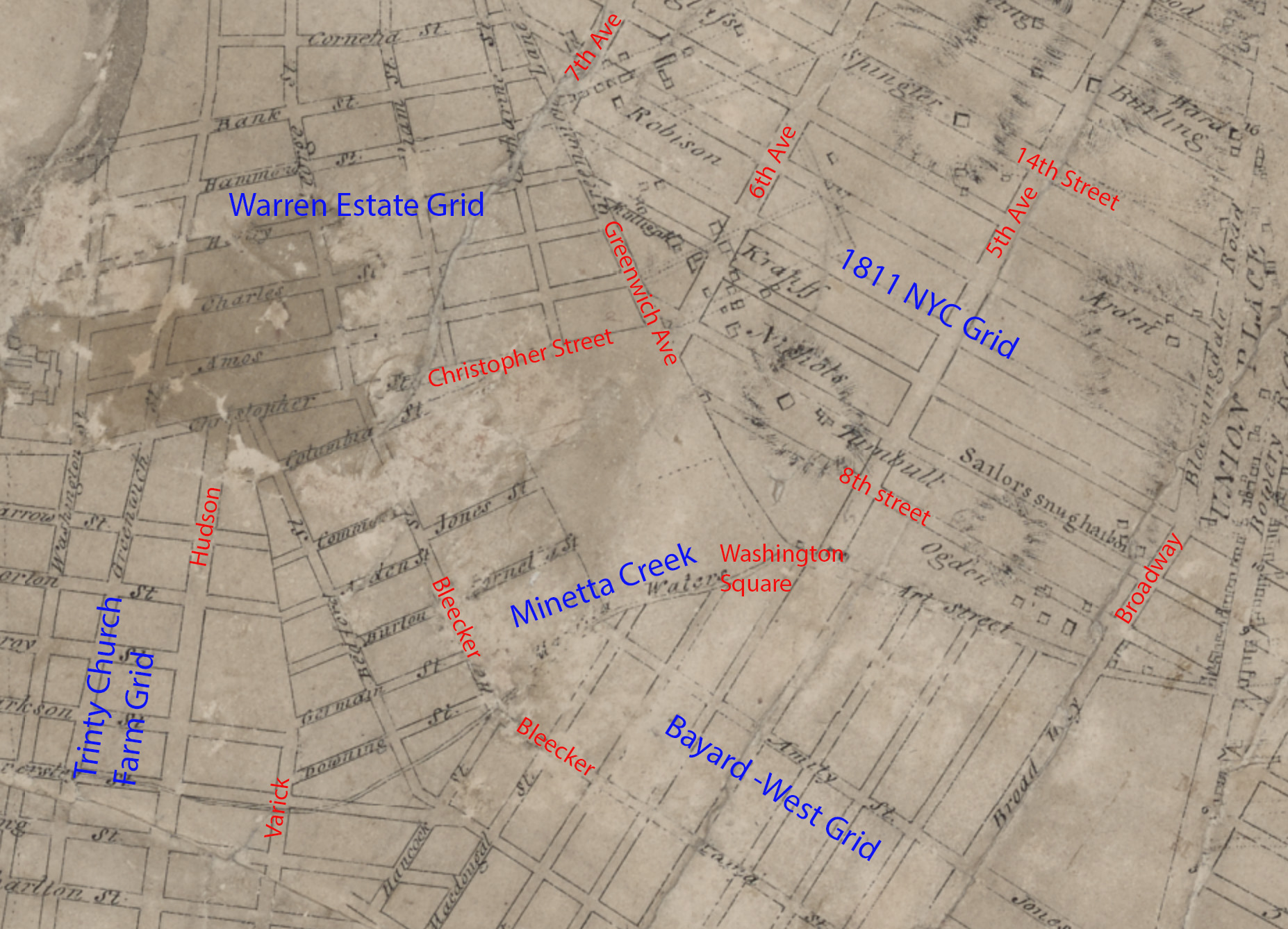 Greenwich Village on the Commission Plan of 1811.    Overlay in blue for the various grids and red for the approx present day streets.
