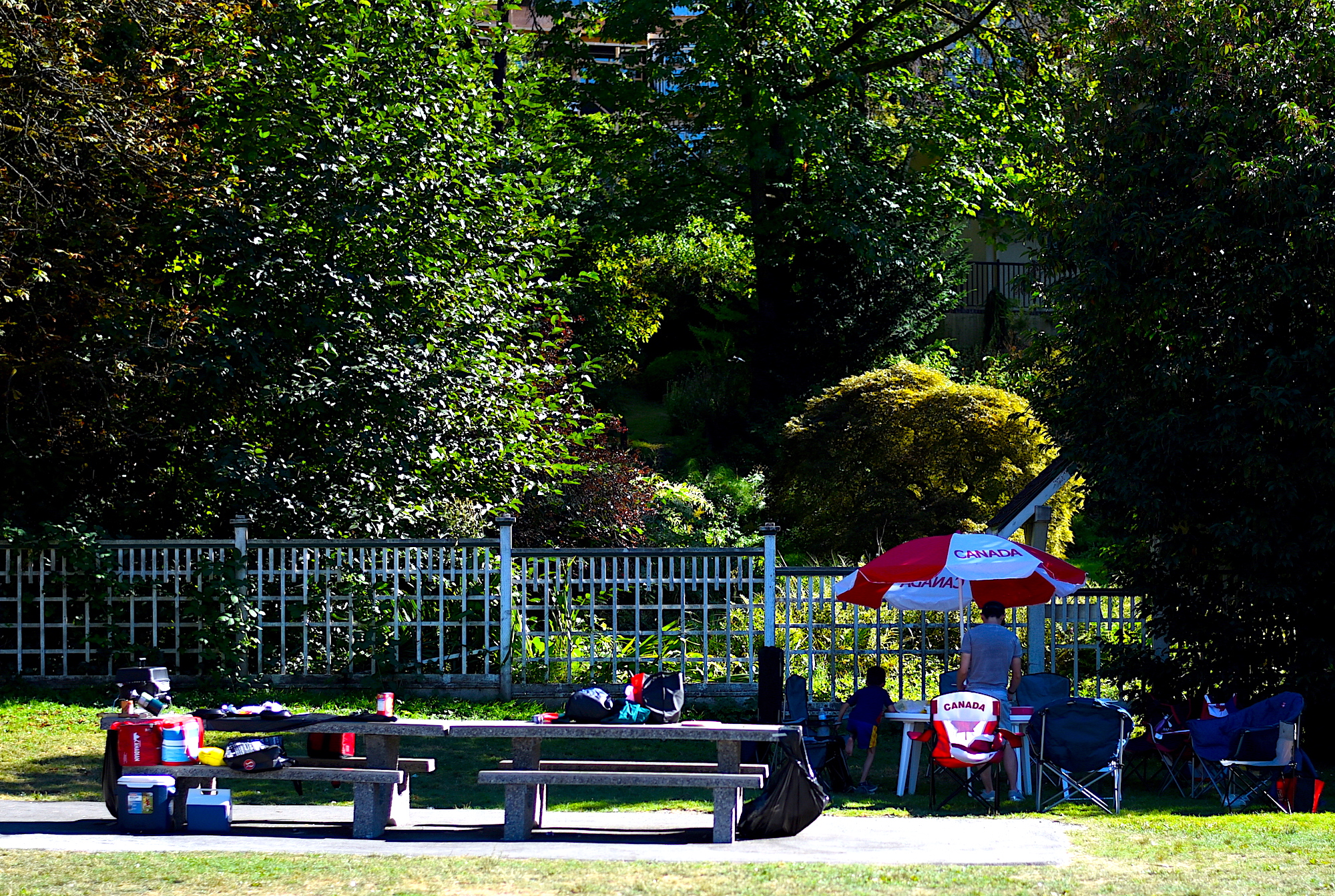 Picnic benches for family and friends to gather for a summer barbecue.