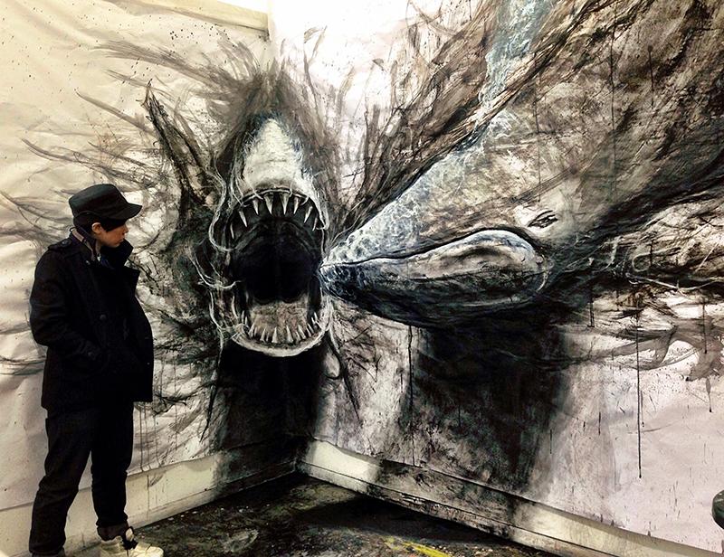 "One of Fiona's favourite piece ""Shark vs Humpback Whale"""