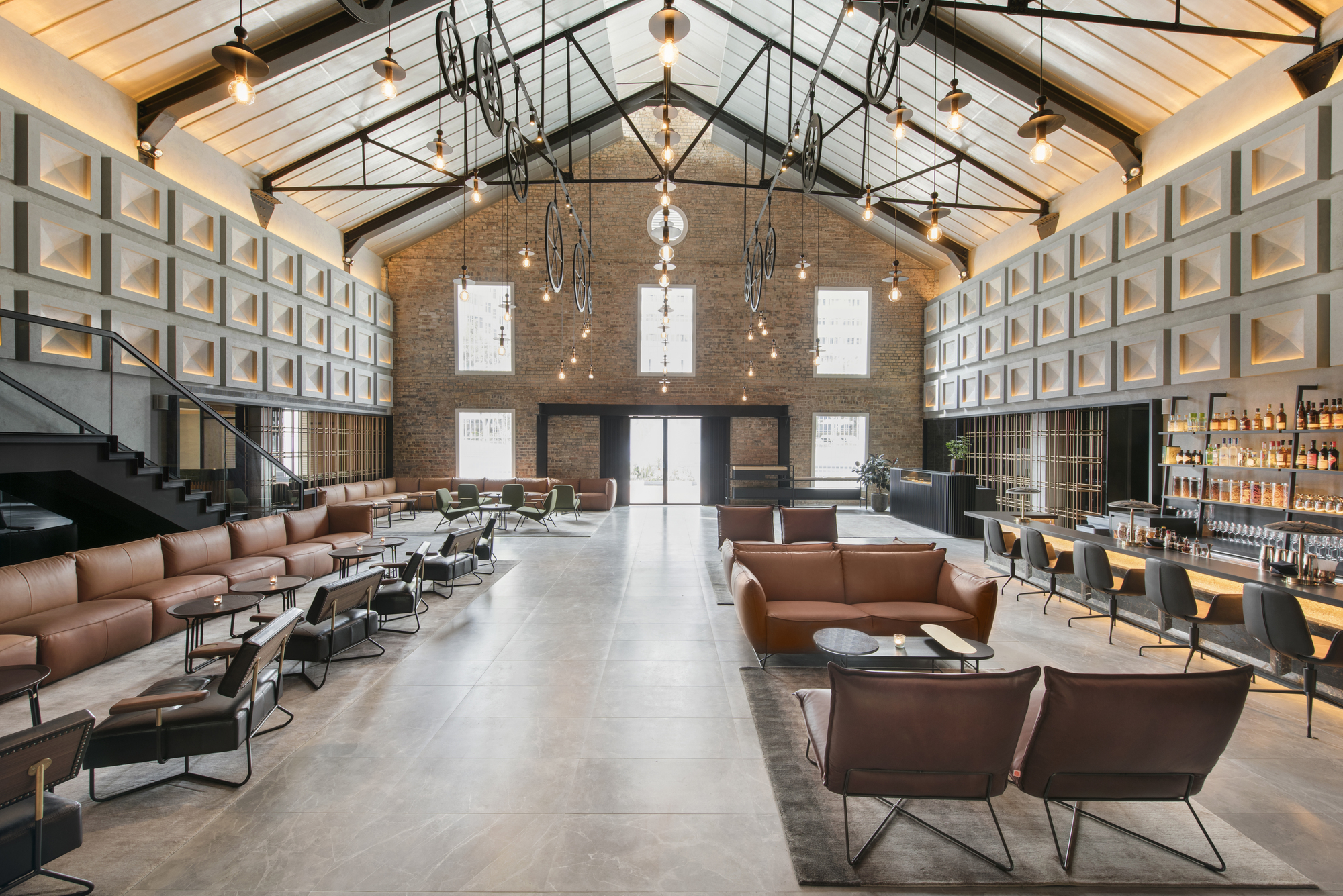 The Warehouse Hotel's large lobby.