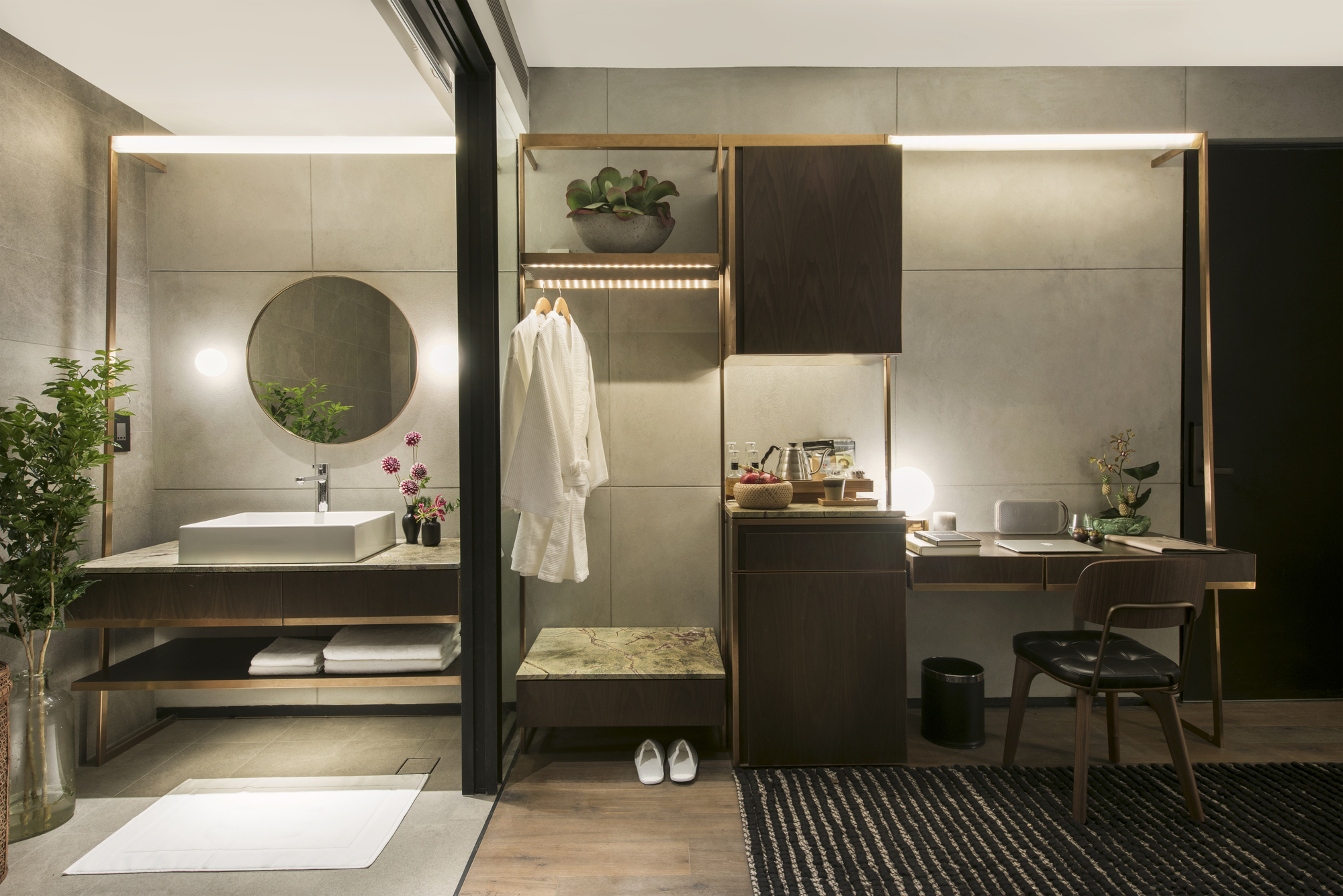 Refined details including the thin brass frame is a signature design in the hotel.